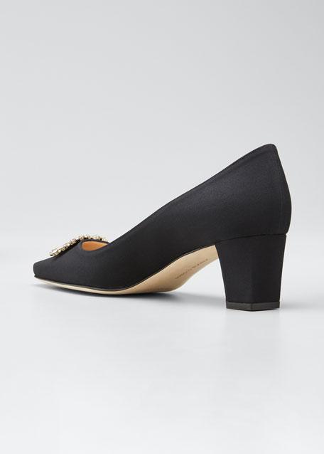 Okkato Low-Heel Crepe Pumps, Black
