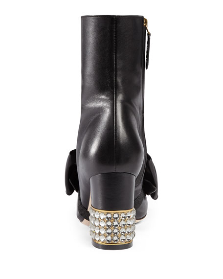 Candy Leather Buckle Boot, Black