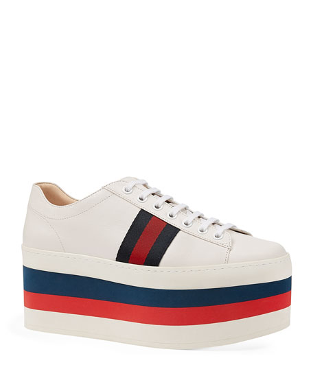 68485809dfd Gucci Peggy Striped Platform Sneakers