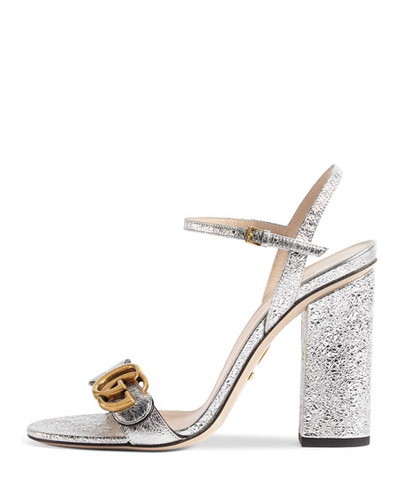 Marmont Metallic Leather Sandal
