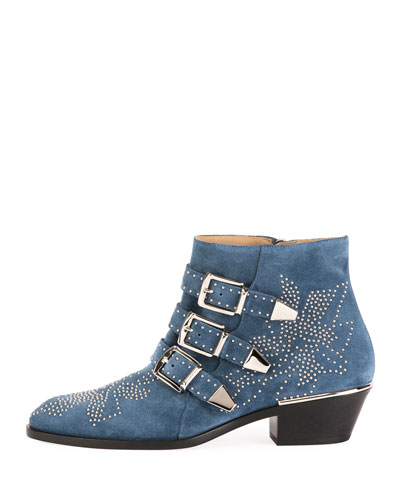 Suzanna Studded Suede Buckle Bootie