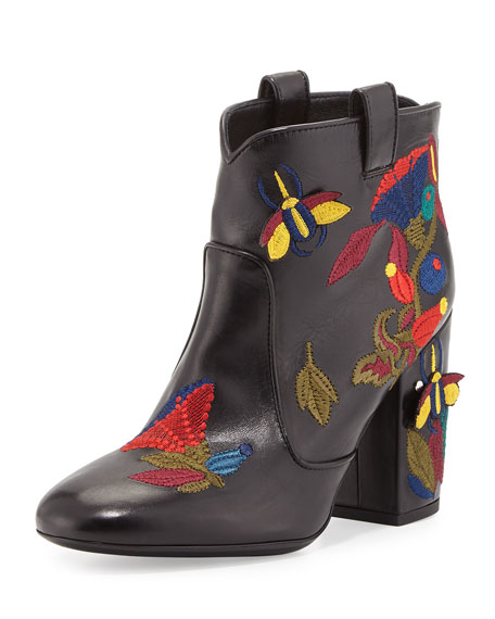 Laurence Dacade Pete Embroidered Leather Western Boot, Black