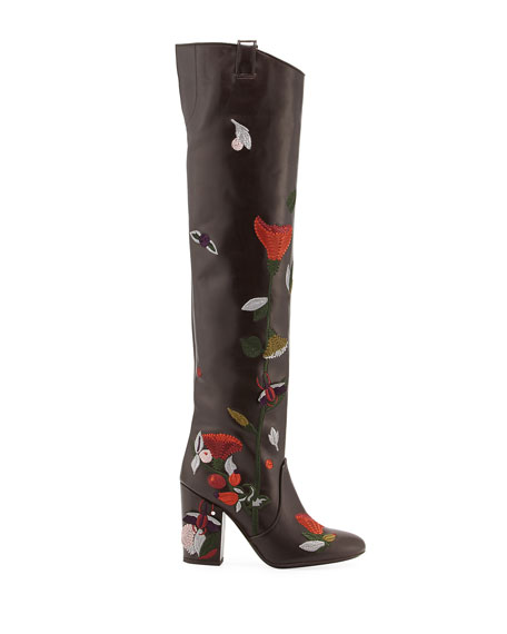 Silas Embroidered Leather Knee Boot, Brown Pattern