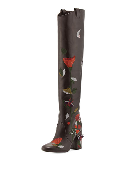Laurence Dacade Silas Embroidered Leather Knee Boot, Brown