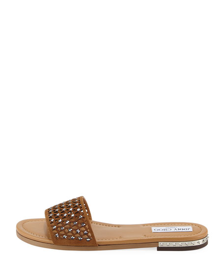 Dree Laser-Cut Flat Mule Sandal, Medium Brown