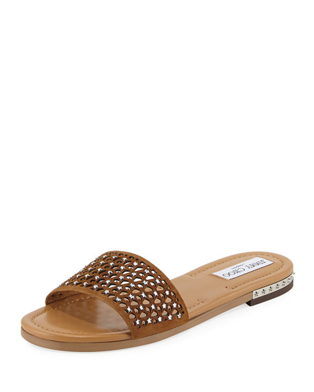 Jimmy Choo Dree Laser-Cut Flat Mule Sandal, Medium