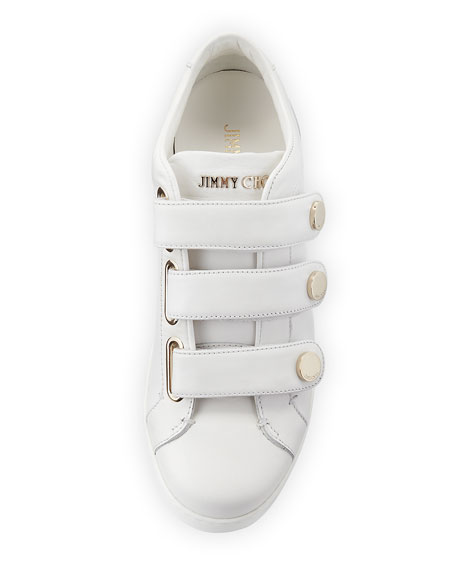 Ny Three-Strap Leather Sneaker, White