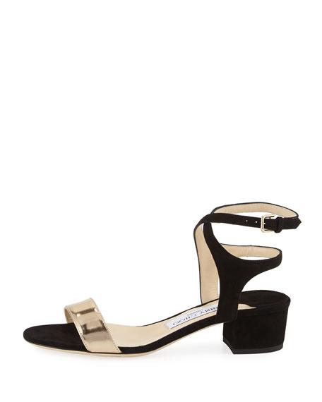 Marine Block-Heel Ankle-Strap Sandal, Black
