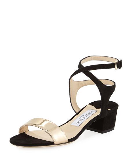 Jimmy Choo Marine Block-Heel Ankle-Strap Sandal, Black