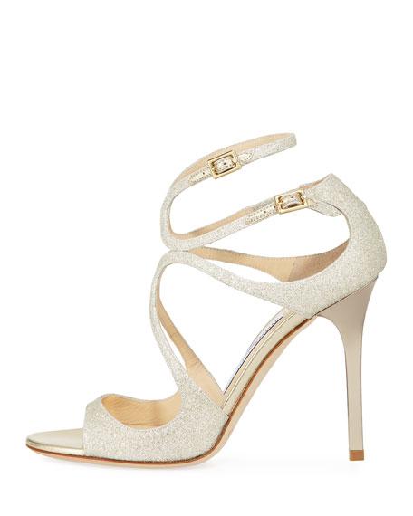 Lang Metallic Crisscross Sandal, White Metallic