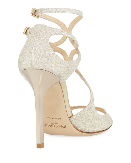 Lang Metallic Crisscross Sandal, White Metallic