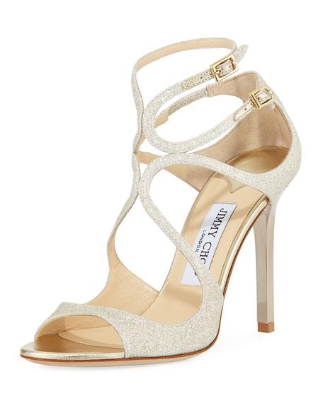 Jimmy Choo Lang Metallic Crisscross Sandal, White Metallic