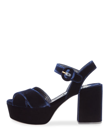 Suede Platform Ankle-Strap Sandal, Navy