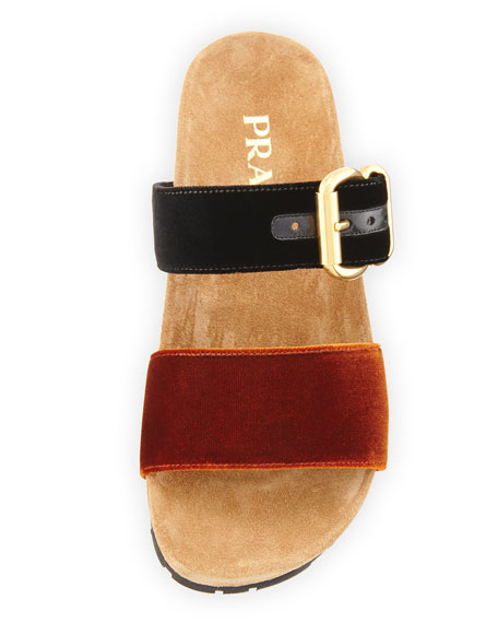 Double-Strap Flat Velvet Slide Sandal