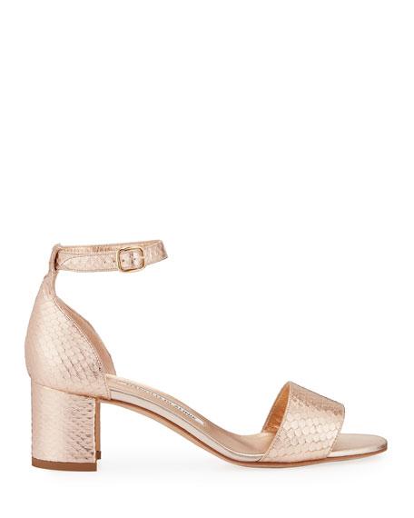 Lauratom Snake-Embossed Leather Sandal