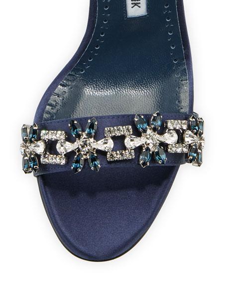 Firadou Crystal-Embellished Satin Sandal