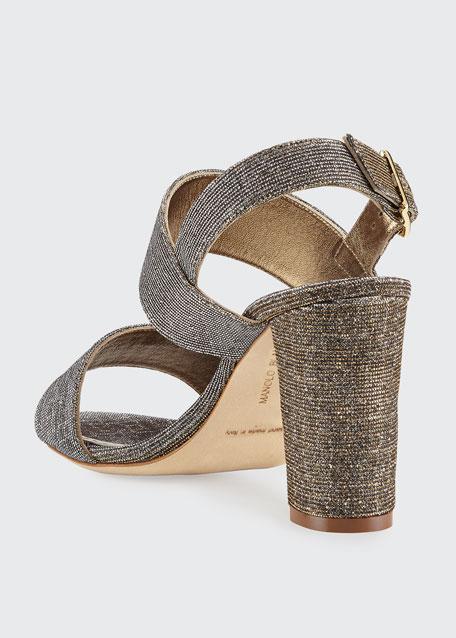 Khans Metallic Two-Band Sandal, Bronze