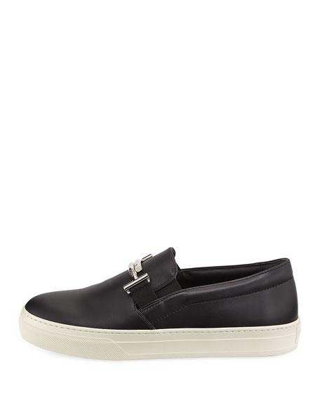 Leather Double-T Bit Strap Slip-On Sneaker, Black