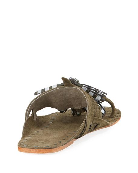 Tassel-Embellished Toe-Ring Flat Sandal, Dark Green