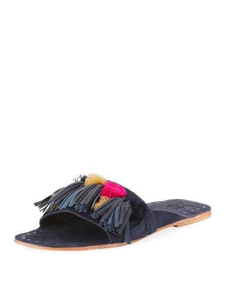 Pompom Tassel Flat Mule Sandal, Blue