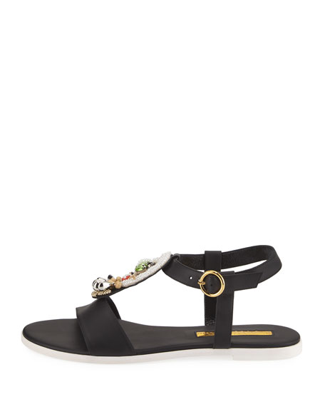 La Fargo Beaded Leather Sandal, Multi