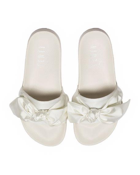 Bow Satin Slide Sandal, White