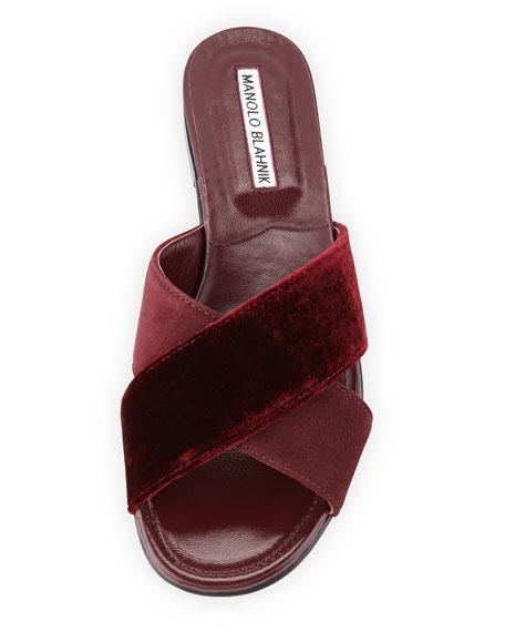 Otawi Velvet & Suede Flat Slide Sandal