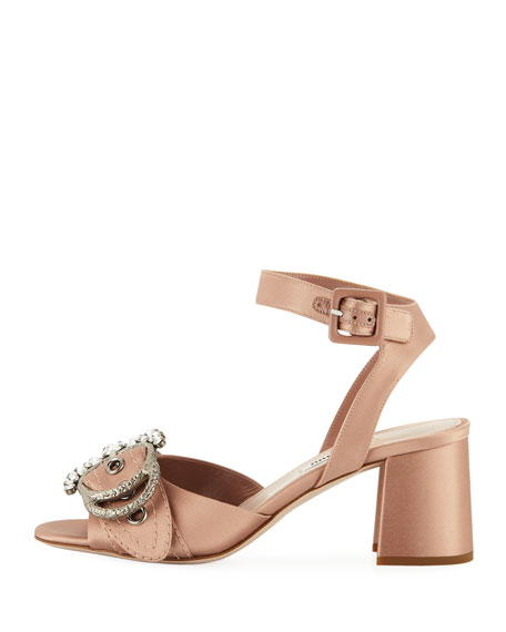 Satin Buckled Block-Heel Sandal
