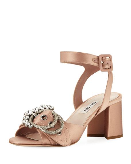 Satin Buckled Block-Heel Sandal