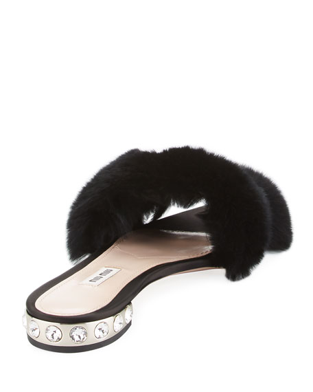 Rabbit Fur Buckle Slide Sandal