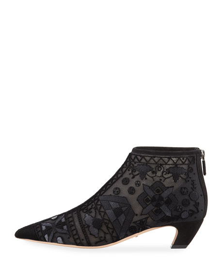 Dioreve Embroidered Pointed-Toe Ankle Boot