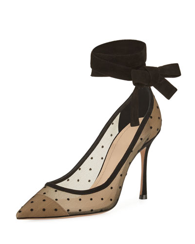 Lovely- D Plumetis Ankle-Wrap Pump