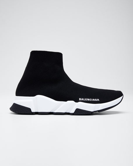 Speed Logo-Print Stretch-Knit High-Top Sneakers, Noir