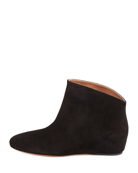 Suede Demi-Wedge Ankle Boot