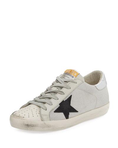 Superstar Low-Top Metallic Knit Sneaker, White