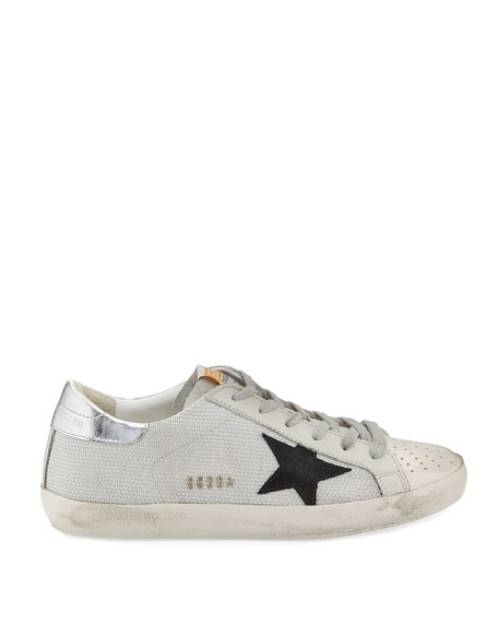 Superstar Low-Top Metallic Knit Sneaker, White
