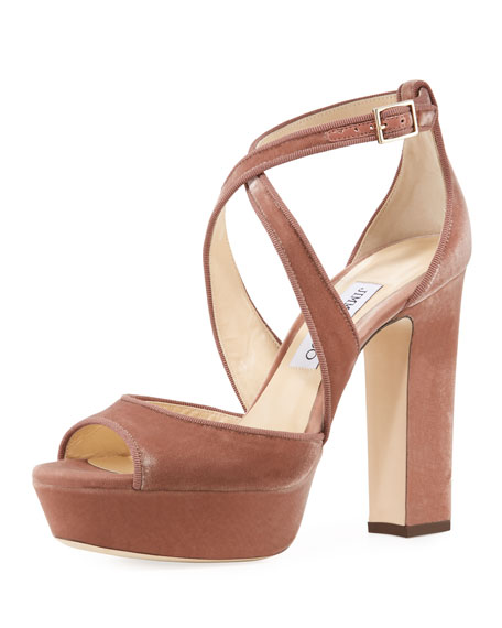 Jimmy Choo April Velvet Platform Sandal