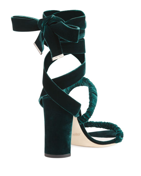 Marcella Velvet Ankle-Wrap Sandal, Green