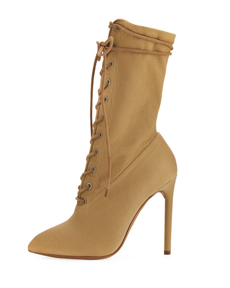 Stretch-Canvas Lace-Up Boot, Beige