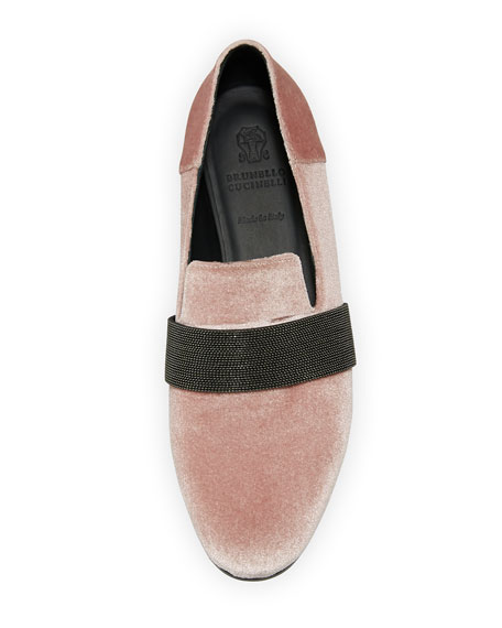 Velvet Loafer with Monili Keeper Strap