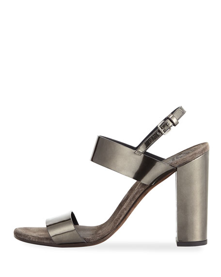 Brunello Cucinelli Metallic Leather Sandal with Cashmere and Monili Sock FrafamFT2