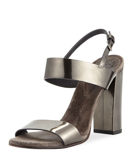MMetallic Leather Sandal with Cashmere and Monili Sock
