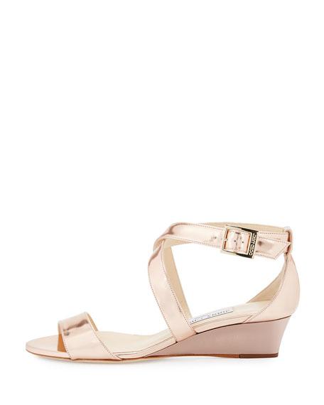 Chiara Mirrored Crisscross Wedge Sandal, Rose Gold