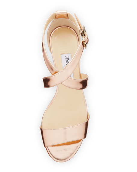 Chiara Mirrored Crisscross Wedge Sandal, Rose Gold