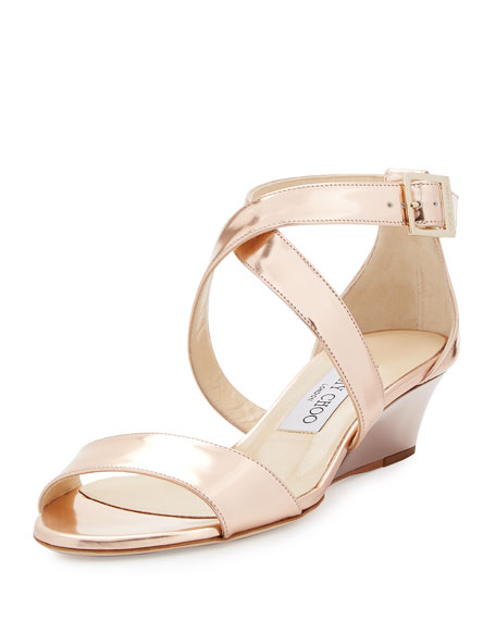 Faux leather fabric upper Braided strappy design Peep toe Wedge heel Espadrille detailing Double buckle fastening Heel cm / inches.