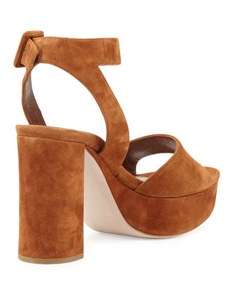 Suede Block-Heel Ankle-Wrap Sandal