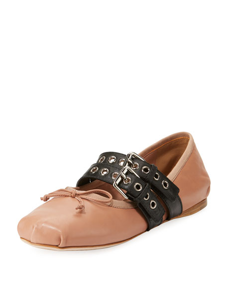 Belted Leather Ballerina Flat