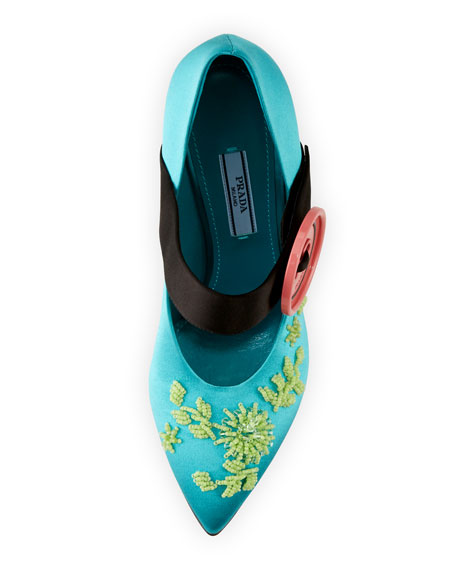 Embroidered Satin Mary Jane Pump