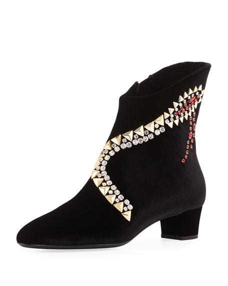 Veronica Crystal-Embellished Velvet Bootie