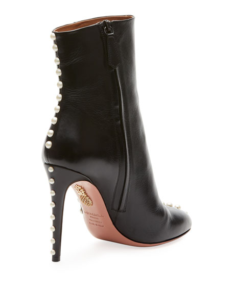 Folly Pearly Leather Booties